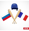 Symbols of Baseball team Russia and France vector image vector image