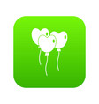 three balloons in the shape of heart icon digital vector image