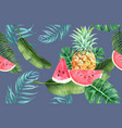 tropical pattern flower watercolor thanks card vector image vector image