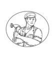vintage carpenter hammer mono line vector image vector image