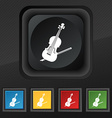 Violin icon symbol Set of five colorful stylish vector image