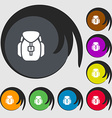 Backpack icon sign Symbols on eight colored vector image