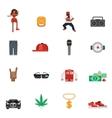 Rap Music Flat Icons vector image