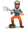 a farmer holding rake vector image vector image