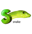 A snake and a letter S vector image vector image