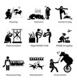 animal rights and issues stick figure pictogram vector image