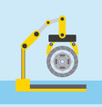 automotive industry robotic arm with clutch disc vector image