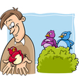 bird in the hand cartoon vector image