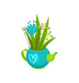 bouquet of wild flowers in blue teapot with heart vector image vector image