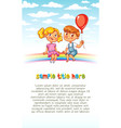 boy and girl are sitting on the rainbow vector image vector image