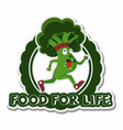 broccoli sprint with food for life text sticker vector image vector image