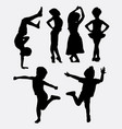 children playing silhouette vector image vector image