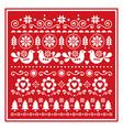 christmas folk greeting card scandinavian vector image vector image