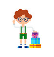 cute little boy with stack of gift boxes icon vector image vector image