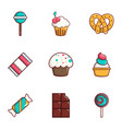 dessert icons set flat style vector image vector image