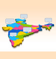 detailed 3d map of india asia with all states and vector image