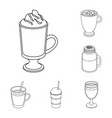 different kinds of coffee outline icons in set vector image