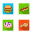 fast food meal and other web icon in flat style vector image vector image