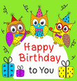 happy birthday card with funny owls vector image vector image