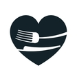 heart with fork and knife vector image vector image