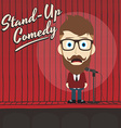 hilarious guy stand up comedian cartoon vector image vector image