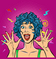 joyful woman girls 80s surprised cute smile vector image