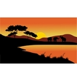 Landscape elephant of silhouette vector image vector image