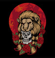 lion skull head red moon vector image