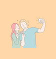 making selfie smiling couple victory gesture vector image vector image