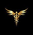 medical caduceus symbol in golden color logo icon vector image