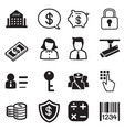 money finance banking silhouette icons set vector image vector image