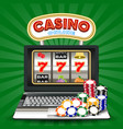 online casino slot machine game on laptop computer vector image