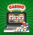 online casino slot machine game on laptop computer vector image