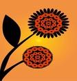 orange and black floral pattern vector image vector image