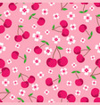 pattern with cherries and flowers vector image