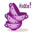pink cups funny characters for breakfast vector image