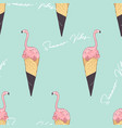 pink flamingo ice cream cone summer vibes vector image vector image