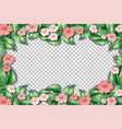 pink flower and leaves frame template vector image