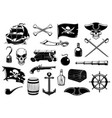 pirate icons skull chest treasure map and ship vector image