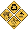 recycling and ecological set of yellow signs vector image vector image