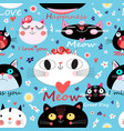 seamless pattern enamored cats on a floral vector image vector image