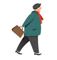 senior man walking with bag autumn male character vector image