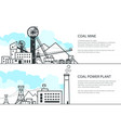 set of banners with mining and coal power station vector image vector image