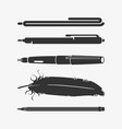 set of writing instruments vector image vector image
