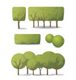 set tree and bush in carton style vector image