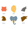 set with heads various wild animals vector image