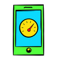 smartphone with clock icon icon cartoon vector image