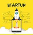 startup icons with rocket symbol design vector image vector image