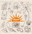 summer set of doodle hand drawn objects isolated vector image vector image