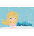 sweet teen winter girl vector image vector image